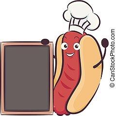 menu, ilustração, cozinheiro, tábua, mascote, hotdog