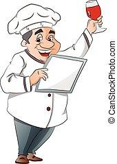 menu, ilustração, cozinheiro, vidro, segurando, vinho