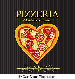 menu, ilustração, dia, vetorial, valentineçs, modelo, pizza