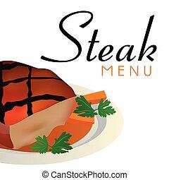 menu, image, vecteur, fond, bifteck
