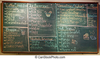 menu in front of coffee