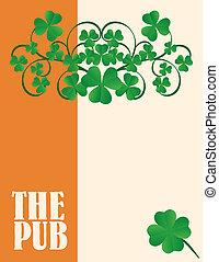 menu, irlandais, couverture, pub, conception