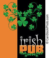 menu, irlandese, coperchio, pub, disegno