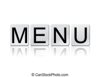 Menu Isolated Tiled Letters Concept and Theme