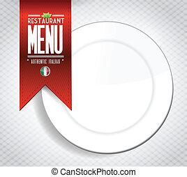 menu, italiano, bandeira, textura, restaurante