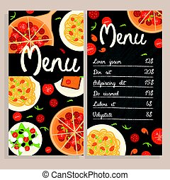 menu, italiano, coloridos, modelo, restaurante