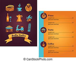 menu, italiano, desenho, restaurante