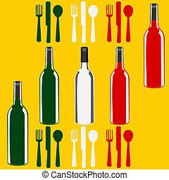 menu, italiano, modelo, vinho