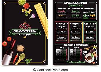 menu, italiano, restaurante, especiais, oferta