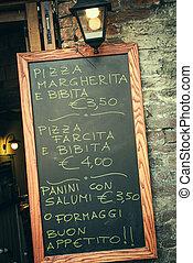 menu, italie