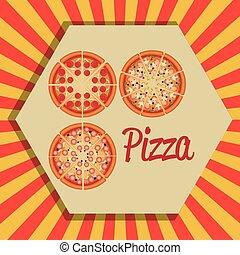 menu, italien, ensemble, délicieux, pizza