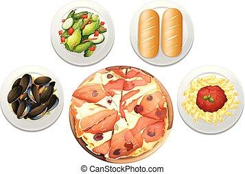 menu, jogo, pizza, italiano