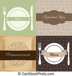 menu, jogo, restaurante