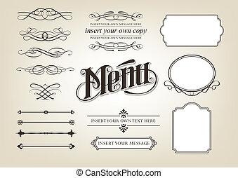 menu, kaligrafia, komplet