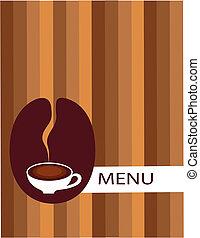 menu, kawa fasola, filiżanka