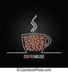 menu, kawa, projektować, tło, filiżanka