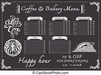 menu, koffie, chalkboard