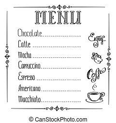 menu, koffie, witte achtergrond