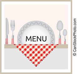 menu, konstruktion, restaurant