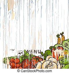 menu, légumes, bois, fond