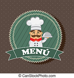 menu label with chef over brown background. vector ...