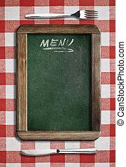 menu, lavagna, dire bugie, su, tavola, con, coltello forchetta