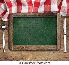menu, lavagna, su, tavola, con, coltello forchetta