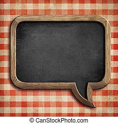 menu, lavagna, su, tavola, forma, di, bolla discorso