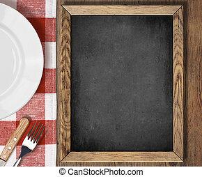 menu, lavagna, vista superiore, su, tavola, con, piastra, coltello forchetta