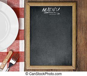 menu, lavagna, vista superiore, su, tavola, con, piatto, pietanza, coltello forchetta
