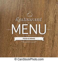menu, legno, disegno, retro, ristorante