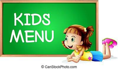 menu, mały, dzieciaki, deska, dziewczyna