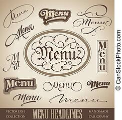menu, mano, iscrizione, set, (vector)