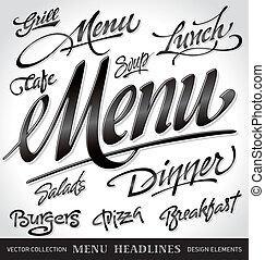 menu, nagłówki, komplet, (vector)