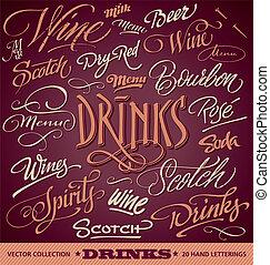 menu, nagłówki, komplet, (vector), pije