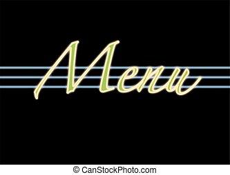 menu neon sign
