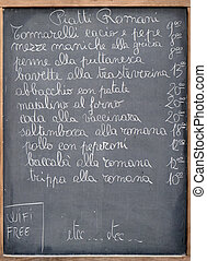 Menu of a restaurant in Rome, Italy