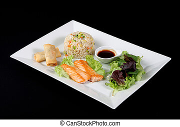 menu of grilled fish with rice and vegetables