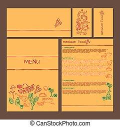 Menu of Mexican food, cinco de mayo elements