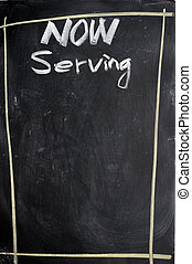 Menu of now serving