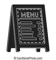 Menu of pizzeria icon in black style isolated on white ...