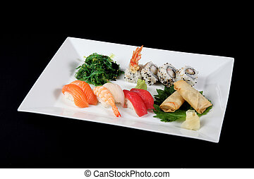 menu of sushi and roll fish with vegetables on white plate