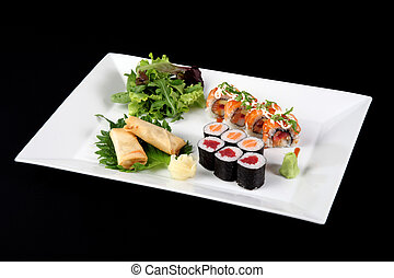 menu of sushi and roll fish with vegetables and wasabi on ...