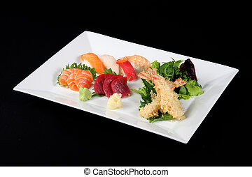 menu of sushi, sashimi and fried