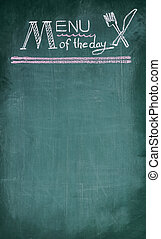 Menu of the day handwriting on chalkboard