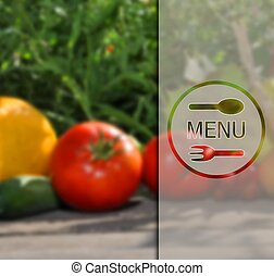 Menu on the background of vegetables.