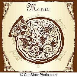 menu, ontwerp, pizza