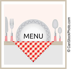 menu, ontwerp, restaurant
