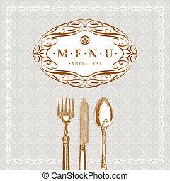 menu, orné, vecteur, gabarit, vendange, cutleries