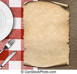 menu, papier, het liggen, op, tafel, met, schaaltje, mes en vork